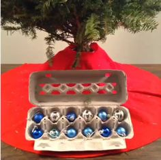 Give your ornaments a new home. Upcycle egg cartons into a useful storage solution. #Vine #lowesfixinsix