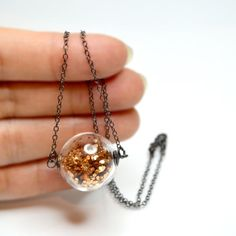 Glitter in a necklace!! hand blown glass, balls, ball pendant, style, glitter necklac, funky fashion, necklaces, glitter ball, perfect gir