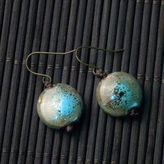 Blue-Green Circular Ceramic Earrings