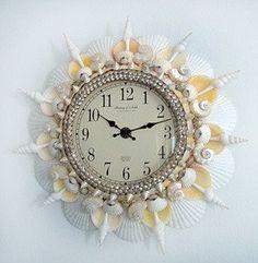 A Mermaid's Sunshine, Seashell Wall Clock / Seashell Clocks / Shell Decor™ > Beautiful, decorated Sea Shell and Seashell Mirrors.