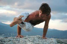 yoga, male yogi, guy, arm balance, outdoor yoga,