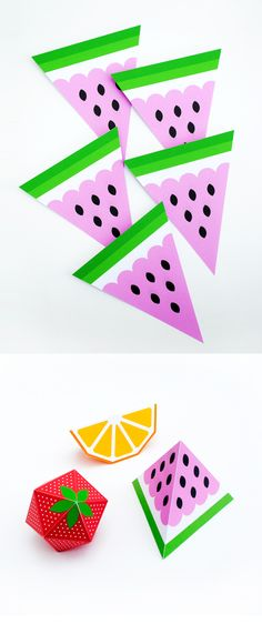Paper fruit // bunting + gift boxes Fruity favours, eg The Very Hungry Caterpillar, Snow White (apple)
