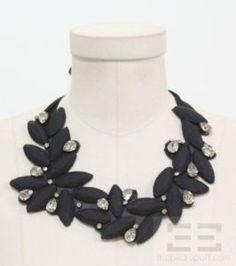 Vera Wang Navy Blue Satin And Crystal Bib Necklace