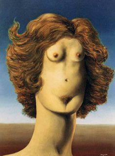 """Magritte """"Le viol"""" (1934). Los surrealistas y Arcimboldo http://harteconhache.blogspot.com.es/2013/04/arcimboldo-el-biologo.html"""