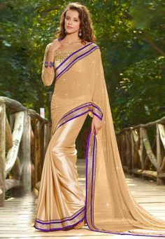 Cream Faux #Georgette #Saree