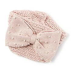 Knit Earwarmer with Pearl Studded Bow