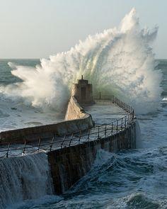 harbor, cornwal photobook, wave, portreath, natur, beautiful england, batter, harbour wall, britain