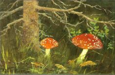 Toadstools under the Tree - Nikolay Bogdanov-Belsky nikolay bogdanovbelski, trees, shitak mushroom, russian artist, mushroom log