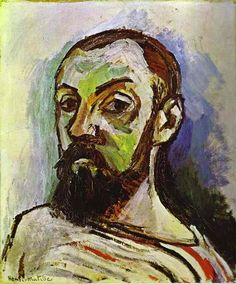 Self-Portrait in a Striped T-Shirt, 1906,   55 x 46 cm. Royal Museum of Fine Arts, Copenhagen. Fauvism, Henri  Matisse (1869 - 1954)