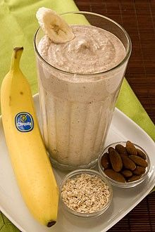 banana oatmeal smoothie. two whole bananas (best with brown flecks on peel), 2 cups ice, 1/3 cup yogurt (preferably greek yogurt flavored with honey), 1/2 cup cooked oatmeal, 1/3 cup almonds.   380 calories.