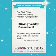 Will you share why you're giving on December 3rd? We would love you to post this image and words. And then of course create and post your own, to get the momentum building! @#GivingTuesday