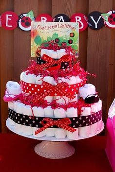 diaper cake with book