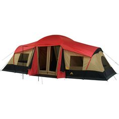 I am pretty sure this is the tent we are getting. It SHOULD fit us all!   Ozark Trail  10-Person 3-Room XL Camping Tent, 20' x 11'