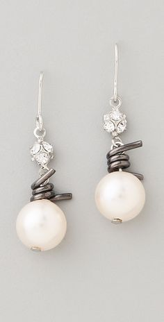 style, wire pearl, pearl earrings, pearls, barb wire
