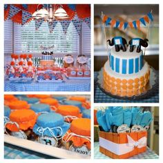 Cute blue and orange party