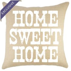 Handmade in the USA, this chic pillow features burlap upholstery and a typographic motif.   Product: PillowConstruct...
