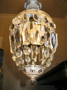Antique Crystal Chandelier $90