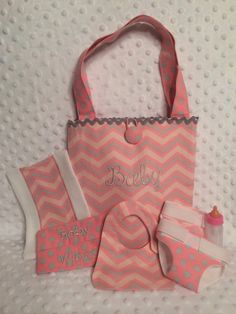 Baby Doll Diaper Bag and Accessories by babyfancypants on Etsy