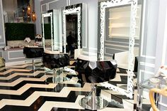 how cool is this salon? look how faceted the chairs are!