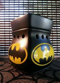 Batman Scentsy! Easy to customize! Get a warmer at www.girlonfirescents.com and have some DIY fun with it.
