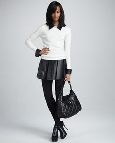 Leather-Collar Sweater & Delphine Pleated Leather Skirt by Milly at Neiman Marcus.