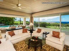 Golf estate with panoramic views! Beautiful home design and decor! #luxury #realestate #livingroom #hawaii #interior