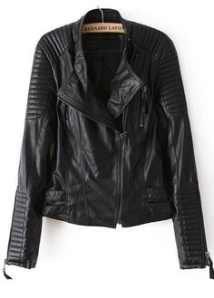 Solid Black Long Sleeve PU Jackets with Zip | Rosewe.com     #streetstyle