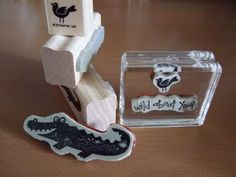 """Before converting wood stamps to clear mount, take the wooden stamp and ink it in some black StazOn ink and stamp the image onto the """"cling"""" part of the foam that you will be using as your clear mount foam and BAM image is on the clear mount."""