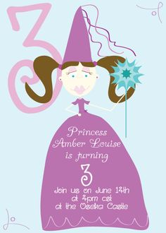 princess birthday invitation - customizable #invitation #princess #girl #birthday #party #invite