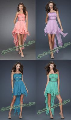 New Free Shipping Strapless Ruffles Ruched Royal Blue High Low Short Front Long Back Prom Dress 2013 Long CH2025 $68.00
