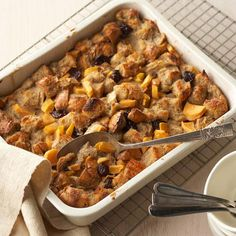 Easter Brunch Recipe - Spice Tea Breakfast Bread Pudding: Dried cherries, chopped persimmon, and orange spice tea are the secret ingredients in this breakfast bread pudding, which serves 12 and is ready in an hour.