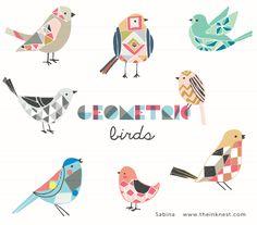 geometric birds clip art