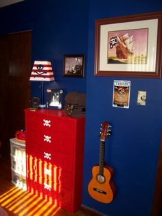 Red and navy bedrooms on pinterest boy bedrooms sailors for Boys pirate bedroom ideas