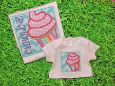 Personalized Applique Cupcake shirt with matching
