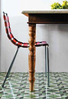 Retro Green Geometric Tiles - kitchen floor