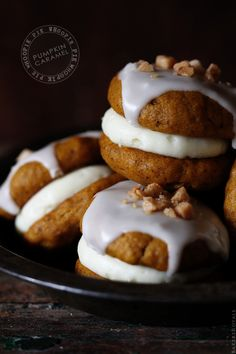 pumpkin caramel whoopie pies with cream cheese filling