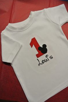 Super cute Mouse Ears Birthday shirt!  Matching bib available!  $21.95