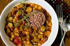 Okra Gumbo With Chickpeas & Kidney Beans | Post Punk Kitchen | Vegan Baking & Vegan Cooking Meatless Mondays, Beans Recipe, Kidney Beans, Vegan Recipe, Okra Gumbo, Vegan Baking, Cooking, Vegan Meals, Mr. Beans