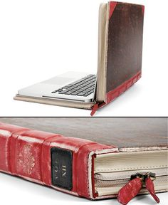 Laptop case in an old book.