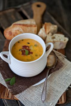 Butternut Squash Soup with Bacon and Sage from @Shaina Olmanson