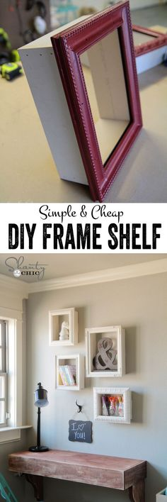 Really cute and simple DIY frame shelves! This is such simple project, and a great way to reuse old frames or to dress up cheap frames. #dressupcheapframes