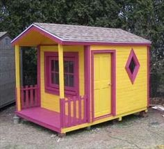Pallet Playhouse. (Pallet wood used to create a cheap & beautiful pallet playhouse. Created by the use of pallet woods shaped in the house you want for the kids. It is smaller for one kid at home, but is bigger to accommodate many kids in it. Pallet playhouse is easy & can be drawn into any shape & color. Wood is painted in radiant colors to bring out the colors and arts in the mind of the kid, to make them sharp & strong in learning about the environment. Not just a playhouse, its creativity.)