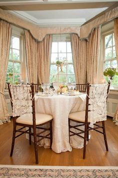 Pretty Chair Decor: Lacy runners from the dollar store with a strand of faux pearls draped over top.