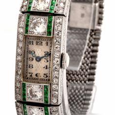 Art Deco Platinum, Diamond and Emerald Lady's Bracelet Watch circa 1920s