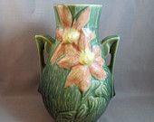 Vintage Roseville Clematis Vase- Green clemati vase, rosevill clemati