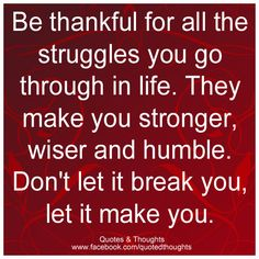 Be thankful for all the struggles you go through in life. They make you stronger, wiser and humble. Don't let it break you, let it make you.
