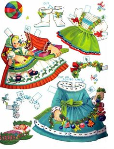 §§§ : Little Miss Christmas and Holly Belle ✄ cut outs : 1965