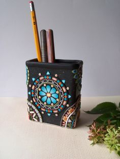 Polymer Clay decorated Mosaic Pencil Holder. Clay canes sliced and arranged into mandala designs. Great gift idea for a favorite boss, supervisor or co-worker.