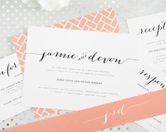 Peach Wedding Invitations with Chic Typography