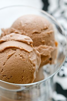 chocolate PB ice cream using coconut milk and honey